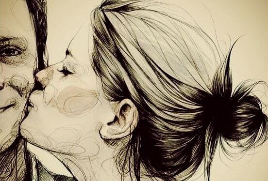 Kvinna pussar man