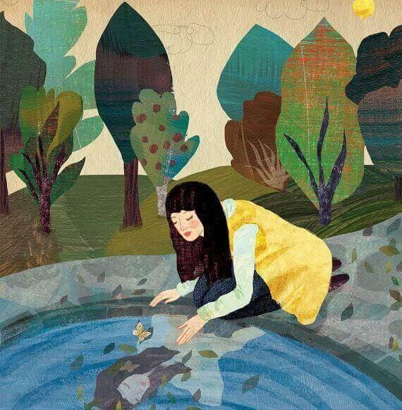 Kvinna vid damm