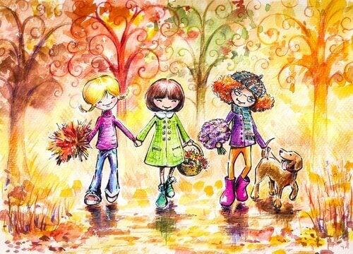 Promenerande flickor