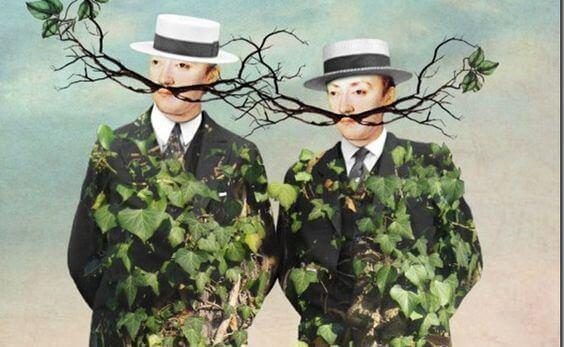 Trädgren som mustasch