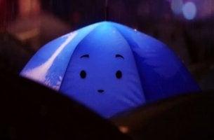 Blått paraply