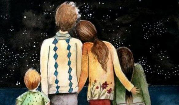 Familj ser på stjärnor