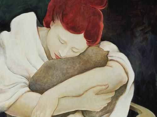 Katt tröstar kvinna