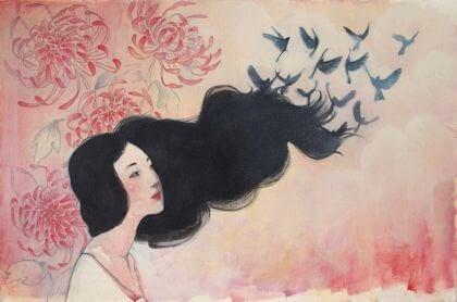 Kvinna bland fåglar