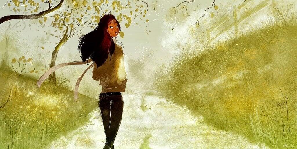Kvinna går ensam