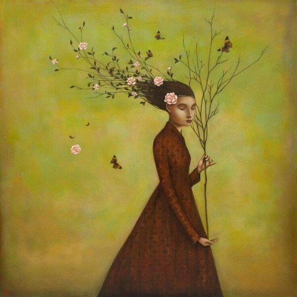 Kvinna med gren