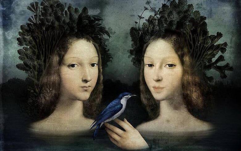 Kvinnor med fågel