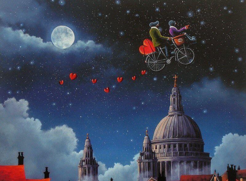Par på flygande cykel