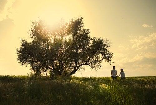 Par vid träd