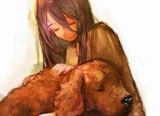 Flicka med hund