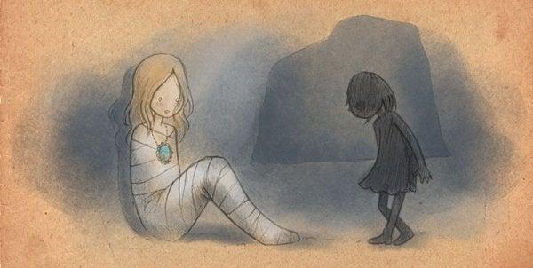 Inlindad flicka och skugga