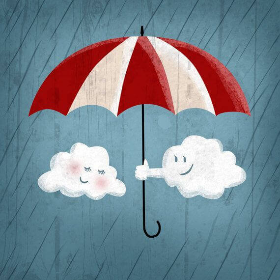 Moln med paraply