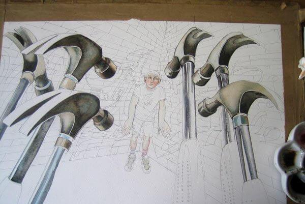 Hammare på ritning