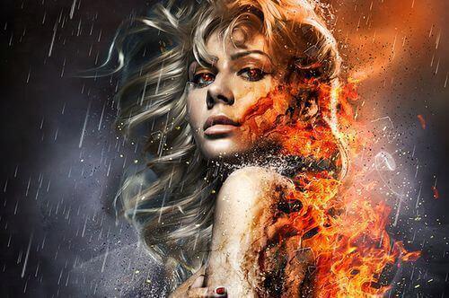 Kvinna med eld