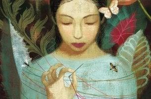 Kvinna med nål