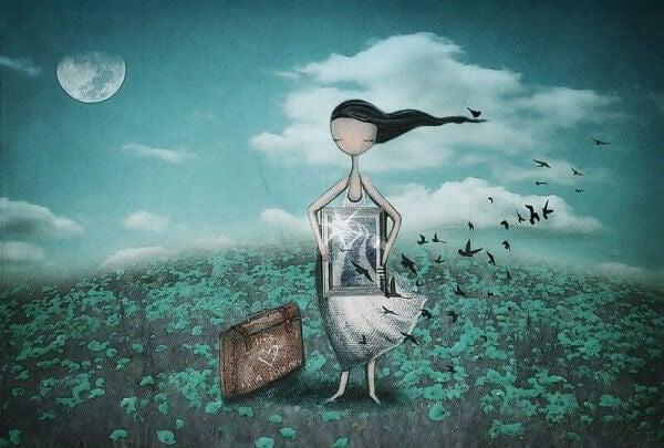 Kvinna med tavla