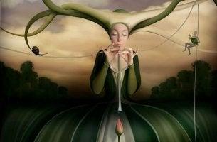 Kvinna med tulpan