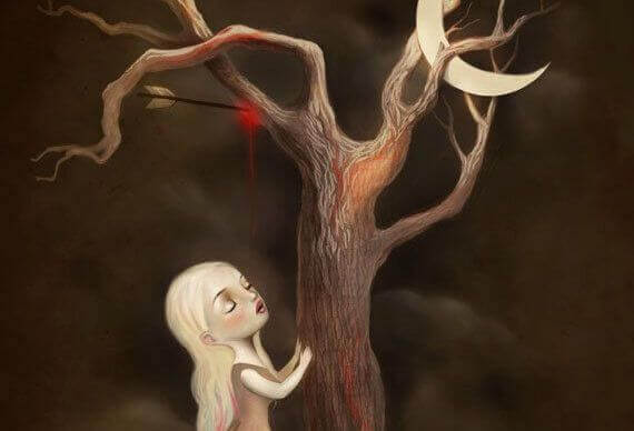 Kvinna vid träd