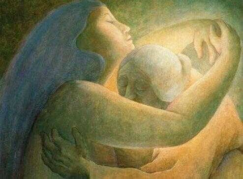 Kvinnor som ger varandra en kram