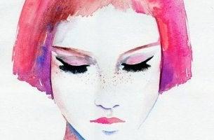 Kvinna med rosa hår