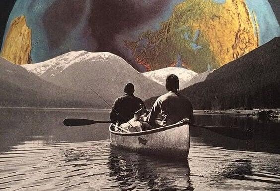 Två män i en kanot
