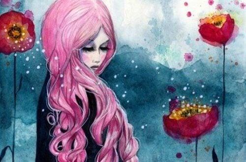Ensam kvinna bland blommor