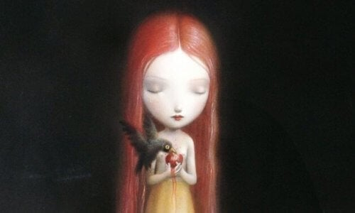 Ledsen flicka med fågel