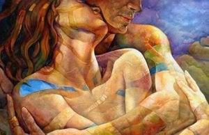 Par i intim omfamning
