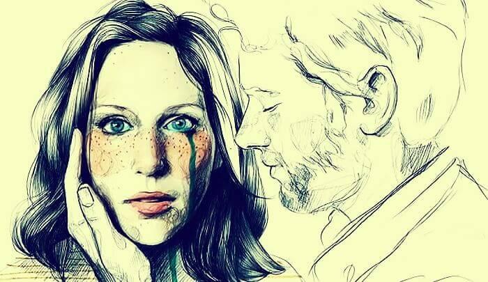 Våld inom relationer där kvinnan gråter