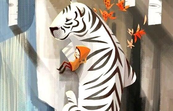 Barn med vit tiger