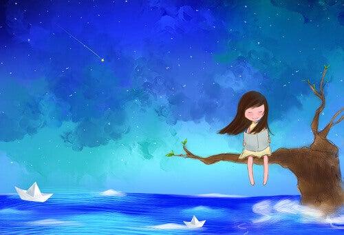 Ensam flicka på gren