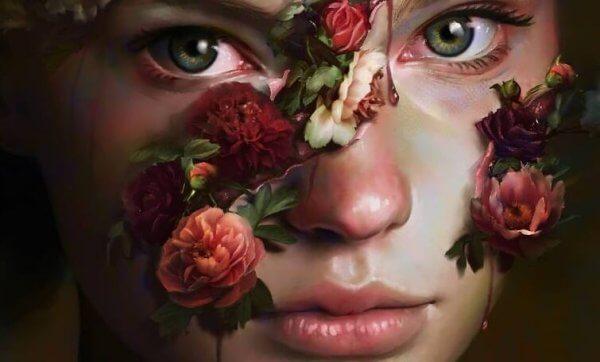 Flicka med rosor