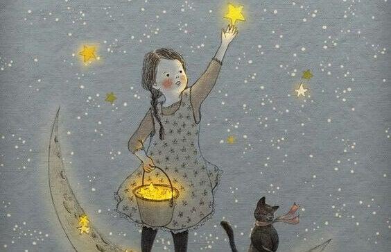 Flicka samlar stjärnor