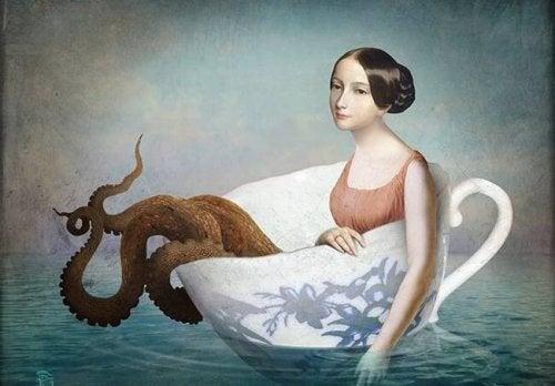 Kvinna med bläckfisk