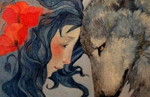 Kvinna och varg