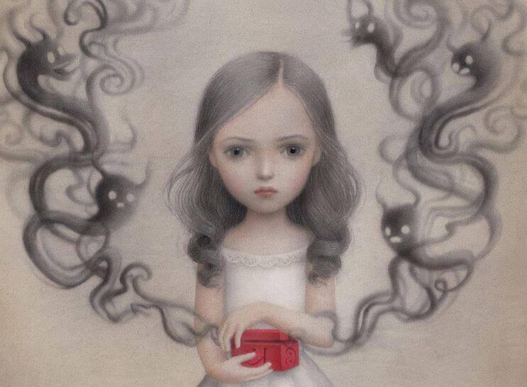 Flicka med låda