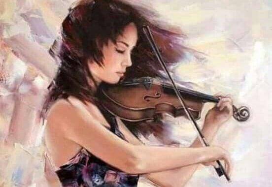Kvinna med violin