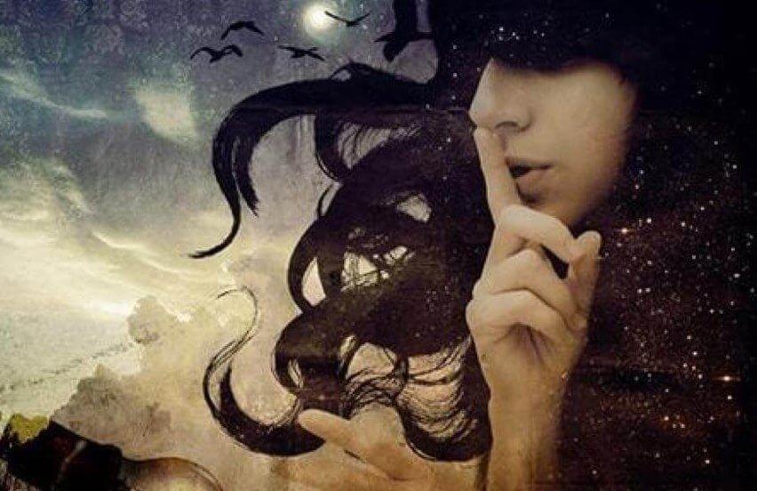 Kvinna som ber om tystnad