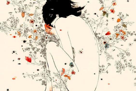 Kvinna bland blommor