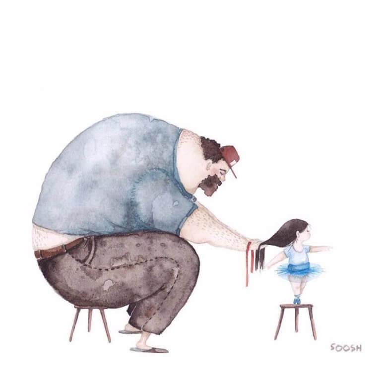 Pappa som hjälper sin dotter