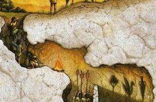 Illustration av myten om Platons grotta
