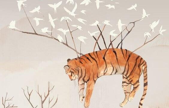 Fåglar bär tiger