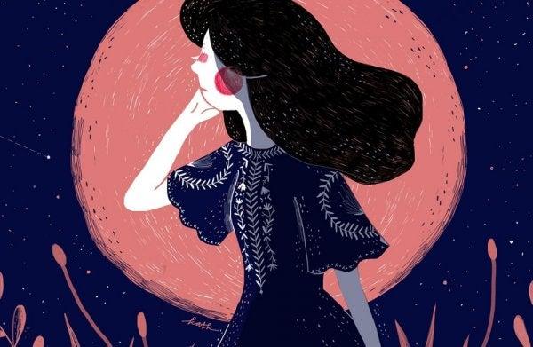 Flicka och röd måne