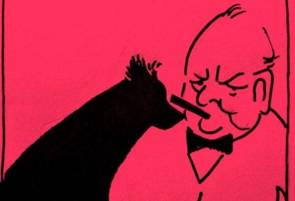 Winston Churchills svarta hund