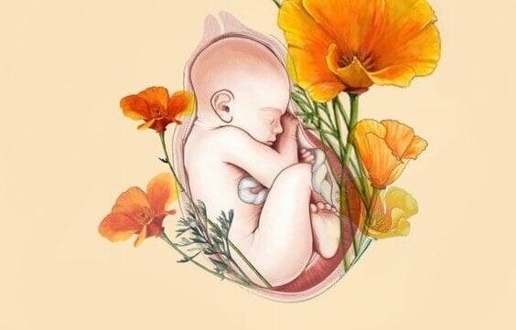 Barn i livmoder med blommor