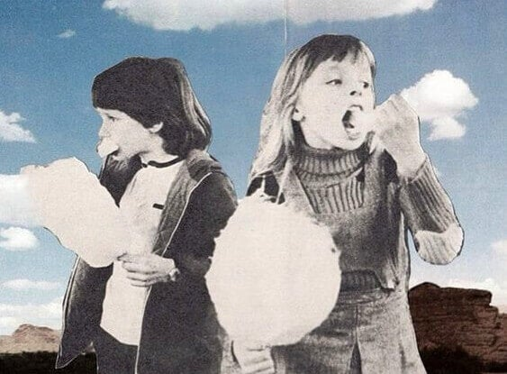 Barn med sockervadd