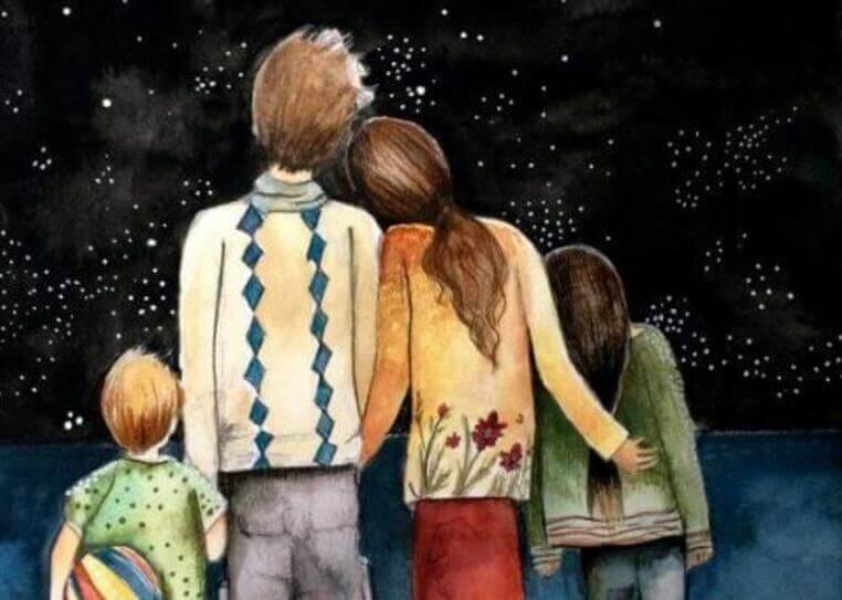 Familj vid himmel