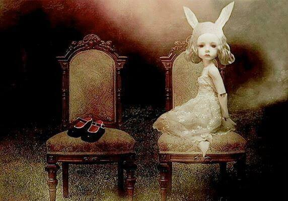 Flicka med kaninöron