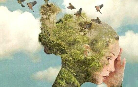 Kvinna med fåglar och skog