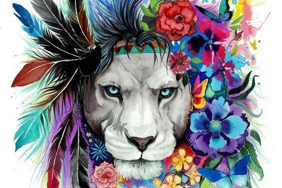 Lejon med fjädrar